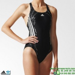 Adidas Bañador Natacion Mujer TECH 1PC Negro-Gris AB5680 lycra infinitex
