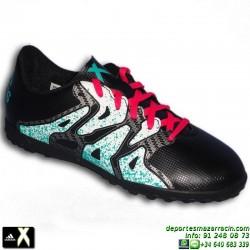 Adidas X para niños NEGRA 15.4 zapatilla futbol TURF AQ5801 bota Bale Luis Suarez Marcelo SOCCER