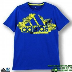 Camiseta ADIDAS YB LR S BR TEE Azul Manga Corta Junior