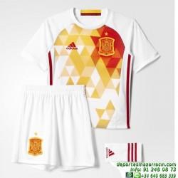 conjunto niños ESPAÑA EUROCOPA 2016 BLANCO camiseta pantalon medias Adidas Oficial AA0817 futbol FEF A SMU MINI
