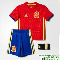 conjunto niños ESPAÑA EUROCOPA 2016 ROJO camiseta pantalon medias Adidas Oficial AA0824 futbol FEF H SMU MINI