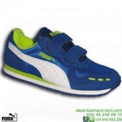 PUMA CABANA RACER MESH Zapatilla Niño VELCRO Azul deportiva junior 356373-17 correr running colegio personalizar