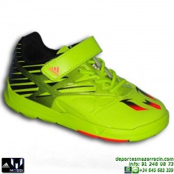 Adidas MESSI EL I Negro-Verde VELCRO AF4052 Deportiva Futbol Infantil