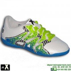 Adidas X 15.4 Blanca NIÑO Zapatilla Futbol Sala S74606 Gareth Bale Luis Suarez