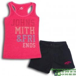 Conjunto Niña Camiseta Tirantes y Short deportivo John Smith BAINA ROSA FUCSIA