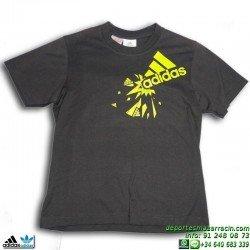 Camiseta Adidas PS YB Junior Gris-Amarillo P42694 algodon