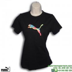 Camiseta Chica PUMA MULTICOLORED CAT Negra 815135-02 algodon