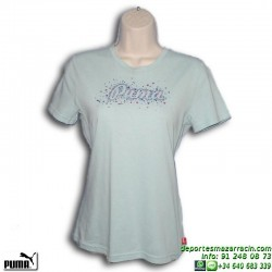 Camiseta Chica PUMA SCRIPT CAT Azul Celeste 805912-01 algodon manga corta