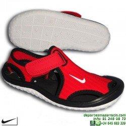 Sandalia Nike SUNRAY PROTECT PS Niño Negro-Rojo 344926-602 chancla