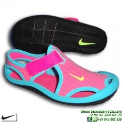 Sandalia Nike SUNRAY PROTECT PS Niña Rosa-Azul 344992-612 chancla