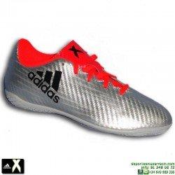 Adidas X 16.4 NIÑO Gris Plata Zapatilla Futbol Sala