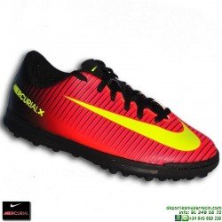 Nike MERCURIAL VORTEX 3 NIÑO Zapatilla Microtaco Turf 831954-870 Rojo-Negro euro16 personalizable crisitiano ronaldo