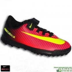Nike MERCURIAL VORTEX 3 velcro NIÑO Zapatilla Microtaco 831942-870 Rojo-Negro JUNIOR euro16 personalizable crisitiano ronaldo