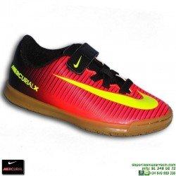 Nike MERCURIAL VORTEX 3 Velcro Niño CR7 zapatilla Futbol Sala 831951-870 Rojo euro16 personalizable crisitiano ronaldo