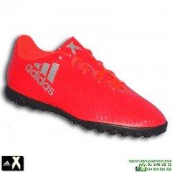 Adidas X 16.4 NIÑO Rojo Zapatilla Microtaco TURF S75710 Gareth Bale Luis Suarez