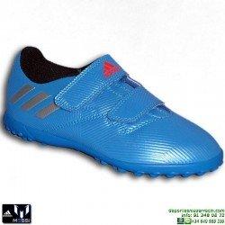 Adidas MESSI 16.4 Velcro NIÑOS AZUL Zapatilla Microtacos TURF BB4021 sin cordones Hierba artifical personalizar