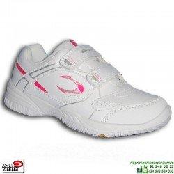 Zapatilla Deporte NIÑA Blanca-Rosa Velcro John Smith CUPIN tenis padel uniforme-personalizar