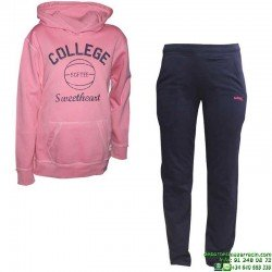 Chandal Junior SUDADERA + PANTALON Softee COLLEGE Rosa OFERTA Niña