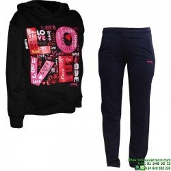 Chandal Junior SUDADERA + PANTALON Softee LOVE Negro-Rosa OFERTA Niña
