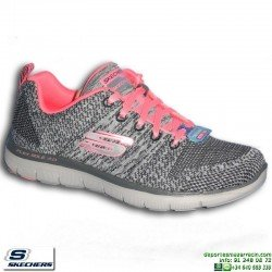 Deportiva Skechers Flex Appeal 2.0 High Energy Mujer Gris-rosa Memory Foam 12756/CCCL personalizable