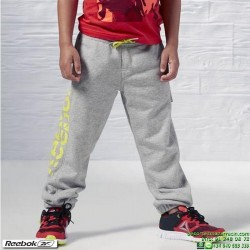 Pantalón Algodon Junior REEBOK Boys Essentials Big Logo Gris AY0790 deporte