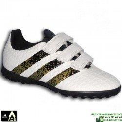 Adidas ACE 16.4 NIÑOS Velcro blanco Zapatilla Microtaco TURF AQ6397 bota futbol James Kroos Koke Rakitic personalizar