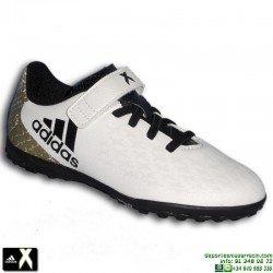 Adidas X 16.4 Velcro NIÑO blanco Zapatilla futbol Microtaco TURF BB4022 bota Bale Luis Suarez morata