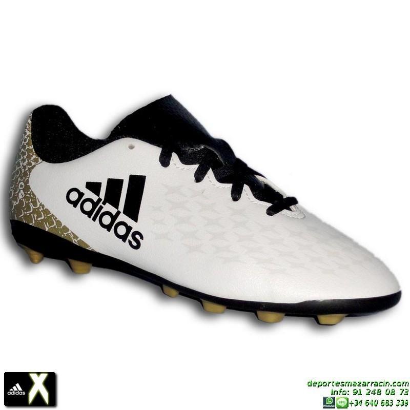 Tenis De Futbol Adidas Blancos Con Dorado