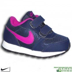 Zapatilla Nike MD RUNNER 2 Infantil Niña TDV Azul-Morado cierre Velcro Deportiva clasica 806255-405 personalizable