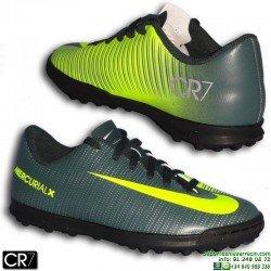 Nike MERCURIAL VORTEX 3 CR7 Niño Zapatilla Microtaco Turf Gris Verdoso cristiano ronaldo 852497-376 junior
