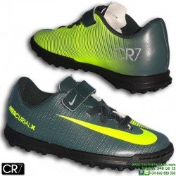 Nike MERCURIAL VORTEX 3 CR7 Velcro Niño Zapatilla Microtaco Turf Gris Verdoso cristiano ronaldo 852493-376