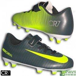 Nike MERCURIAL VORTEX 3 CR7 Velcro Niño Gris Verdoso Bota Futbol Taco FG cristiano ronaldo 852496-376 junior