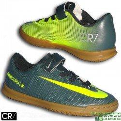 Nike MERCURIAL VORTEX 3 CR7 Velcro Niño Zapatilla Futbol Sala Gris Verdoso cristiano ronaldo 852498-376