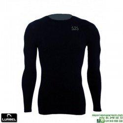Camiseta Termica Negra LURBEL REX manga larga hombre futbol tenis atletismo