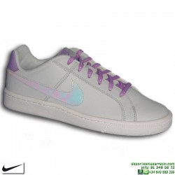 Zapatilla Clasica Nike COURT ROYALE Chica Piel Gris Perla 859512-001 mujer sneakers