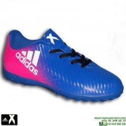 Adidas X 16.4 NIÑO Azul-Rosa zapatilla Futbol hierba Artificial turf BB5725 Gareth Bale Luis Suarez Marcelo