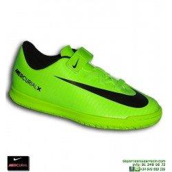 Nike MERCURIAL Niño Velcro Zapatilla Futbol Sala Cristiano Neymar verde VORTEX 831951-303