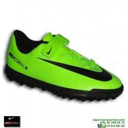 Nike MERCURIAL Niño Velcro Zapatilla Cristiano Ronaldo neymar Turf VORTEX 3 verde 831942-303 bota futbol