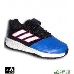 Adidas RAPIDA TURF ACE EL INFANTIL Azul-Negro VELCRO Zapatilla Futbol Calle BA9702