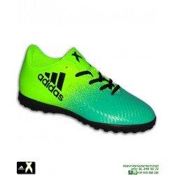 Adidas X 16.4 NIÑO Verde-amarillo zapatilla Futbol Minitacos turf BB5908 Gareth Bale Luis Suarez