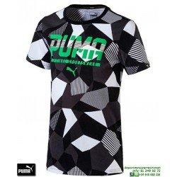 Camiseta Puma STYLE GRAPHIC TEE Junior Negro-Verde 590935-03 Algodón