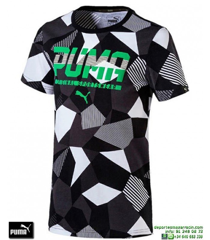 Camiseta Puma STYLE GRAPHIC TEE Junior Negro-Verde 590935-03 Algodón db8b61e6299bf