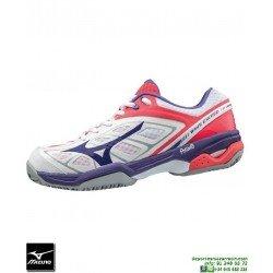 Mizuno WAVE EXCEED CC Mujer Deportiva Tenis Padel Blanco-Rosa 61GC175567 zapatilla suela espiga