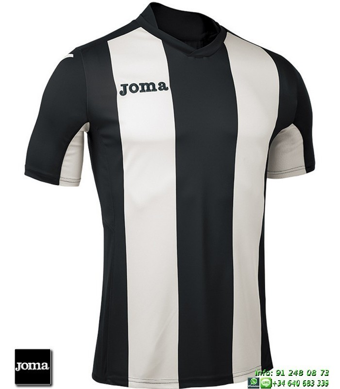 JOMA Camiseta Rayas PISA Futbol NEGRO - BLANCO 100403.100 equipacion