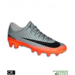 Nike MERCURIAL CR7 Bota Futbol Cristiano Ronaldo Gris-Naranja AG-PRO