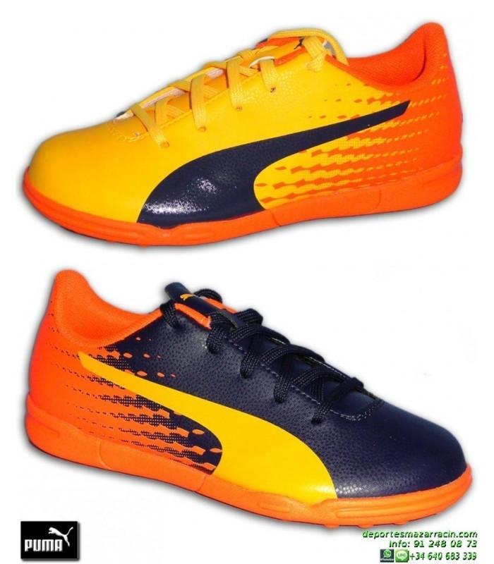 PUMA EVOSPEED 17.5 NIÑO dos colores Naranja-Marino Zapatilla Futbol 2817bff0fb350