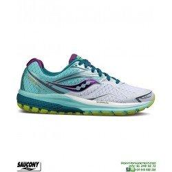Saucony RIDE 9 Mujer Zapatilla Running Neutra Blanco-Celeste S10318-7