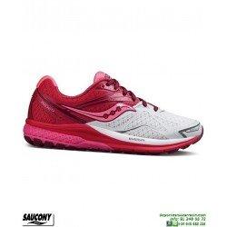 Saucony RIDE 9 Mujer Zapatilla Running Neutra Blanco-Rosa S10318-6