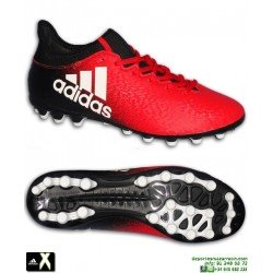 Adidas X 16.3 AG Calcetin Rojo-Negro Bota Futbol Hierba Artificial BB3650 Gareth Bale Luis Suarez