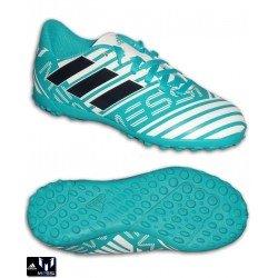 Adidas NEMEZIZ MESSI 17.4 Niños Blanco-Turquesa Zapatilla Futbol TF